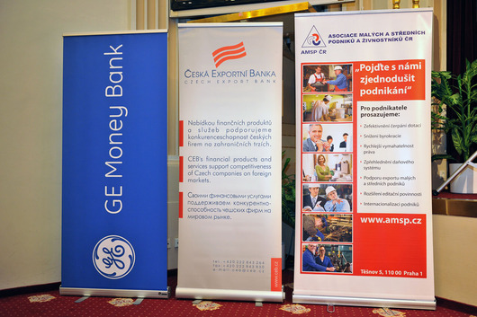 Loga (zprava) - AMSP ČR (pořadatel), Česká exportní banka, a.s. (hlavní partner), GE Money Bank (partner)