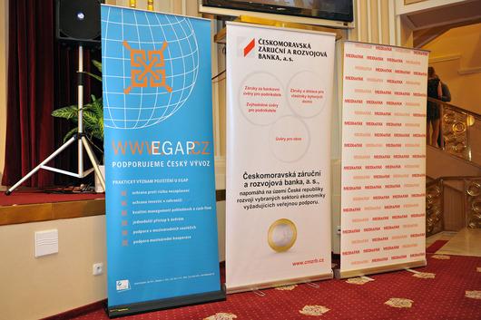Podporovatelé akce (zleva) - EGAP (podporovatel), ČMZRB (podporovatel), MediaFax (mediální partner)