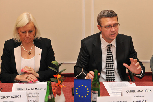 Gunilla Almgren (Vice President & Spokes Person UEAPME), Karel Havlíček (Chairman AMSP ČR)